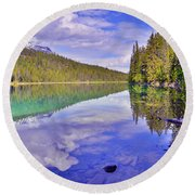 Trees Reflected At Valley Of The Five Lakes Round Beach Towel