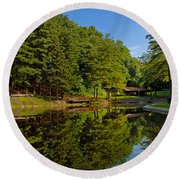 Trees Reflected On Mirrored Lake  Round Beach Towel