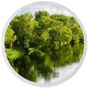 Trees Reflecting In River Round Beach Towel