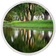 Trees Reflection On The Lake Round Beach Towel by Heiko Koehrer-Wagner