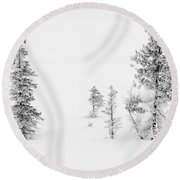 Trees With Hoar Frost Round Beach Towel