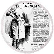 Trench Coat, 1917 Round Beach Towel