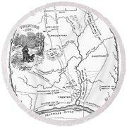 Trenton Map, 1777 Round Beach Towel