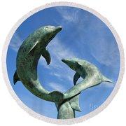 Tresco Dolphins Round Beach Towel