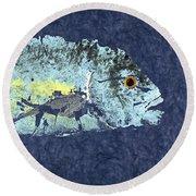 Gyotaku Trevally Round Beach Towel