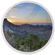 Trevenque Mountain At Sunset  2079 M Round Beach Towel
