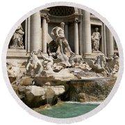 Trevi Fountain In Rome Italy Round Beach Towel