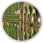Treviso Canal And Reflections Round Beach Towel