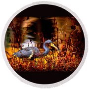 Tri Colored Heron - Reflection Round Beach Towel