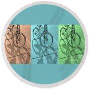 Tri-coloured Bicycle Print Round Beach Towel