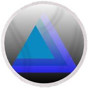 Triangle Abstract Blue Round Beach Towel