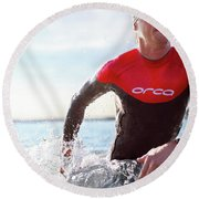 Triathlete And Two Time Iron Man Winner Round Beach Towel