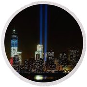 Tribute In Light From Bayonne Round Beach Towel by Nick Zelinsky