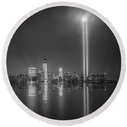 Tribute In Light Reflection Round Beach Towel