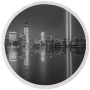 Tribute In Light Reflections Bw Round Beach Towel