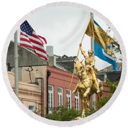 New Orleans Tribute To Joan Of Arc Round Beach Towel