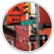 Tribute To Little Italy - Hester And Mulberry Sts - N Y Round Beach Towel
