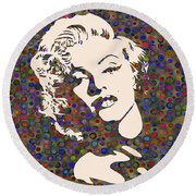 Tribute To Marilyn Monroe Round Beach Towel