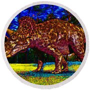 Triceratops Painting Round Beach Towel