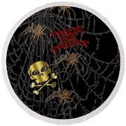 Trick Or Treat Halloween Digital Artwork Round Beach Towel