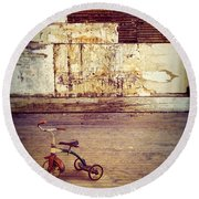 Tricycle In Abandoned Room Round Beach Towel