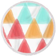 Trifold- Colorful Abstract Pattern Painting Round Beach Towel by Linda Woods