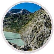 Triftsee Suspension Bridge - Gadmen - Switzerland Round Beach Towel