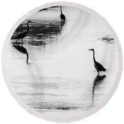 Trilogy - Black And White Round Beach Towel