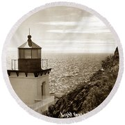 Trinidad Head Light Humboldt County California 1910 Round Beach Towel
