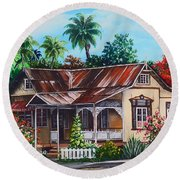 Trinidad House  No 1 Round Beach Towel