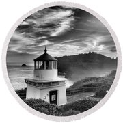 Trinidad Light In Black And White Round Beach Towel by Adam Jewell
