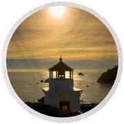 Trinidad Memorial Lighthouse Round Beach Towel
