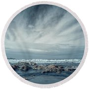 Trinidad State Beach In Infrared Round Beach Towel