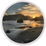 Trinidad Sunset Reflections Round Beach Towel
