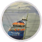 Trinity Long Line Fishing Trawler At San Remo  Round Beach Towel
