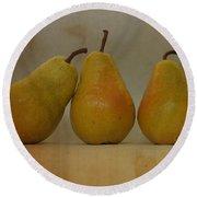 Trio Of Pears Round Beach Towel