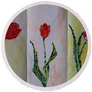 Trio Of  Red Tulips Round Beach Towel