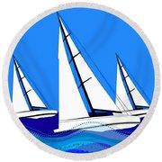 Trio Of Sailboats Round Beach Towel