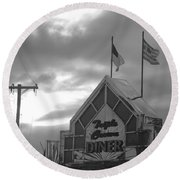 Triple Crown Diner In Black And White Round Beach Towel