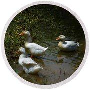 Triple Ducks Round Beach Towel