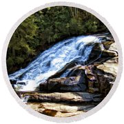 Triple Falls II Round Beach Towel