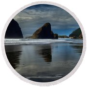 Triple Reflections Round Beach Towel by Adam Jewell