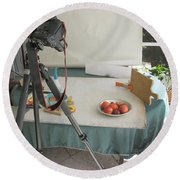 Tripod And Bowl Of Fruit Round Beach Towel