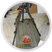 Tripod And Cherries On Floor Round Beach Towel