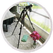 Tripod And Roses On Floor Round Beach Towel