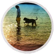 Tripping The Light Fantastic Round Beach Towel by Laura Fasulo
