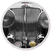 Triumph Roadster Front End Selective Color Round Beach Towel