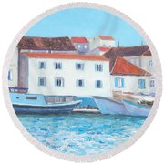 Trogir Croatia Round Beach Towel