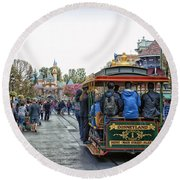 Trolley Car Main Street Disneyland 01 Round Beach Towel