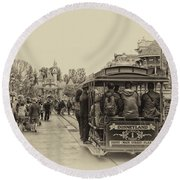Trolley Car Main Street Disneyland Heirloom Round Beach Towel